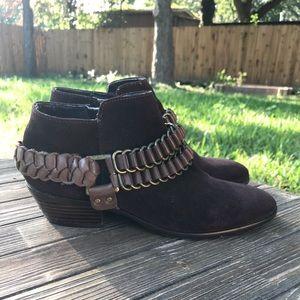 Sam Edelman Bootie Brown Leather Suede SZ 7